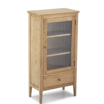 Kingston Oak Glazed Bookcase + Drawer